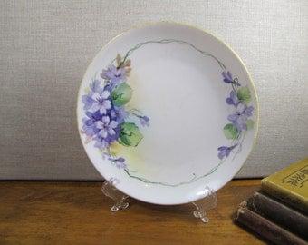 Vintage Hand Painted Nippon Dessert Plate - Purple Flowers