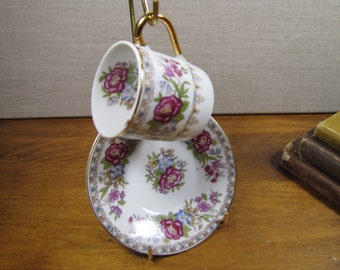 Small Porcelain Teacup and Saucer Set - Floral - Gold Accent