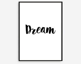 """Typography Poster Motivational Print Wall Decor """"Dream"""" Inspirational Print Home Decor Winter Gift New Year Resolution"""
