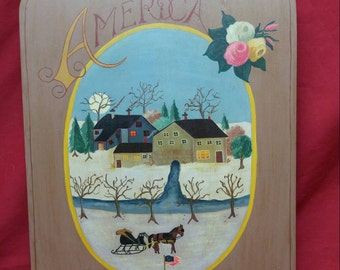 Hand painted country kitchen patriotic Americana folk art wood plaque