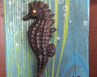 Seahorse Hanger on Reclaimed Wood