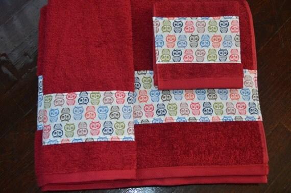 sale decorative owl bath towel set owl bathroom decor owl. Black Bedroom Furniture Sets. Home Design Ideas