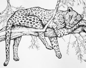 U Paint Print Tree Leopard