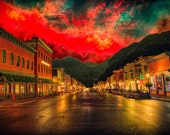 Red Sky Over Telluride - Limited Edition Canvas Print - Telluride Colorado Collage