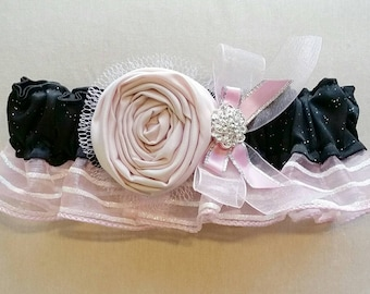 Black and Pink Rosette Prom Garter with Rhinestone Brooch