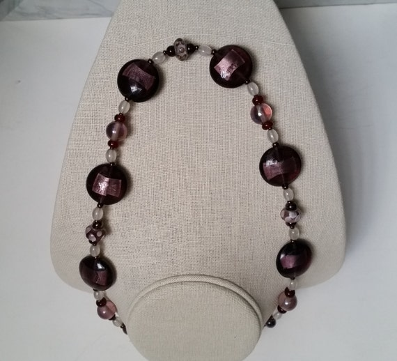 CHUNKY PLUM PURPLE Necklace with Silverfoil Flat Discs, Polka-Dotted Grommet Beads, in Iridescent Violet, White, Bronze, Copper. 21 Inch.