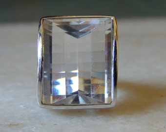 sale flat 50% off on natural 20.23 carat  concave cut crystal ring in 925 sterling silver
