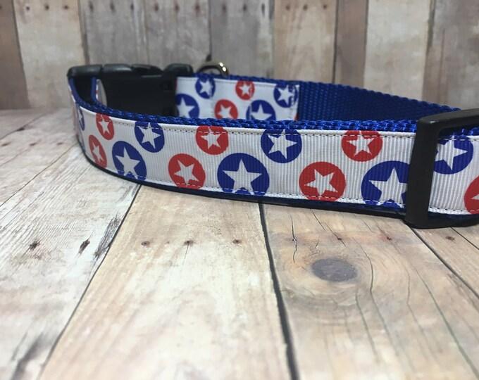 "The Franklin | Designer 1"" Width Dog Collar | CupcakePups Collars | Red and Blue Stars | Medium/Large Dog Collar"