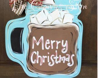 Hot chocolate mason jar wooden door hanger - hand painted