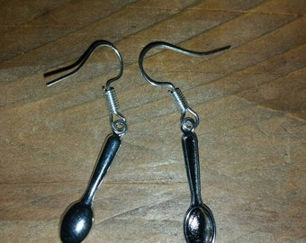Mini silver spoon earrings
