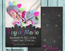 Chalkboard and Bunting Newborn Announcement
