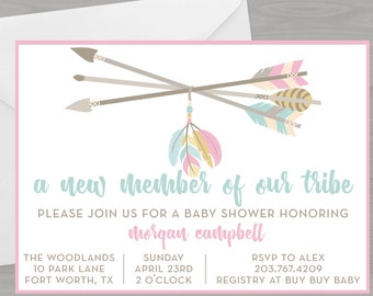 Arrow Baby Girl Shower Invitation//Boho Tribal Printable Baby Shower Theme//Custom Digital Invite//Pink Mint Yellow Arrows Feathers