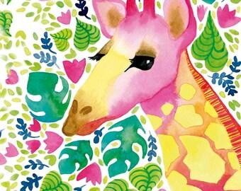 Giraffe Art Print. Nursery wall art, nursery art print, nursery art animals, kids room decor, kids art, watercolor print