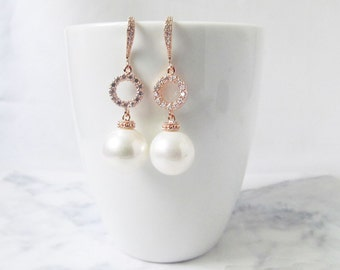 rose gold pearl earrings, bridal earrings , wedding earrings, rose gold jewelry,  rose gold earring , wedding jewelry, bridal jewelry