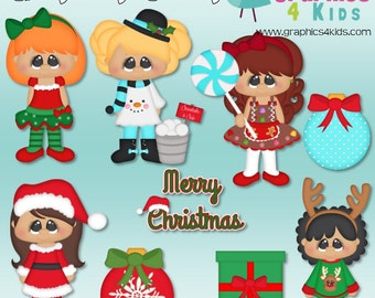 Christmas cuties Digital Clipart - Clip art for scrapbooking, party invitations - Instant Download Clipart Commercial Use