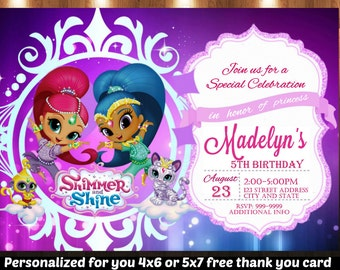 SUMMER SPECIAL- Shimmer and Shine Birthday Invitation,Shimmer and Shine Invitation, Shimmer and Shine Invite,Birthday Invitation