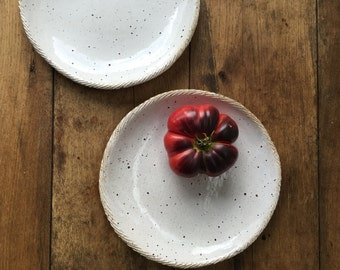 Handmade white with speckles Pasta Bowls