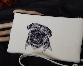 CLOSEOUT SALE!!!  Precious Pug/Dog Lovers/Wristlet Wallet/Clutch/Gifts for Her/Cell Phone Pocket