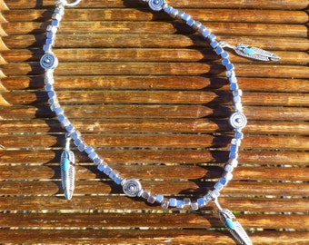 Bohemian Turquoise Feather Anklet