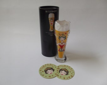 Ritzenhoff beer glass, art glass, Faiza Abou - Abdou, happy hour