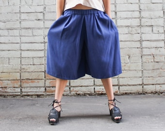 Blue Culottes, Loose Fitting Casual Wide Pants