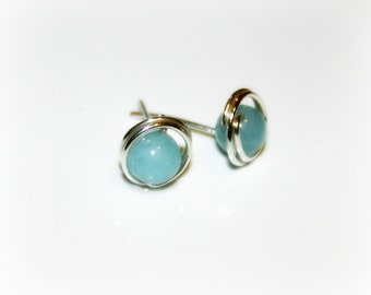 Blue angelite wire wrapped Sterling silver Studs Earrings. Beach wedding earrings.