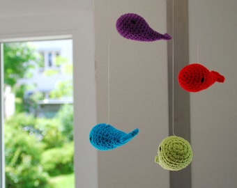 Crochet mobile whales (stained)