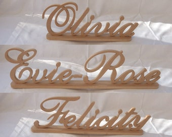 Family Name Table Decoration standing 150mm Tall ideal for Weddings, Engagements, Anniversaries, Birthdays