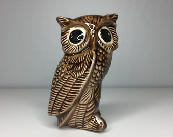 vintage brown ceramic owl