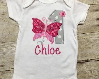 Girl First Birthday Onesie, 1st Birthday Girl Onesie, Butterfly Onesie, 1st Birthday Outfit, Girl Birthday Bodysuit, 1st Birthday