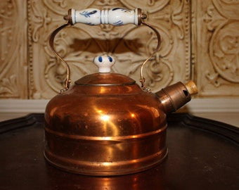 Beautiful Vintage Copper Tea Pot/ Kettle with Porcelain Handle and Knob on the Lid