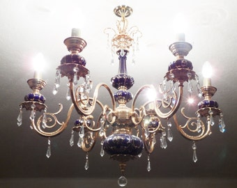 A COBALT BLUE 24k Gold Porcelain & Brass Crystal CHANDELIER - Rare - Porcelain - Collectible- Gift / Present