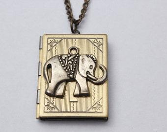 Locket,elephant,ancient Brass Locket,animal, Locket, Antique Style Locket,elephant Locket Necklace