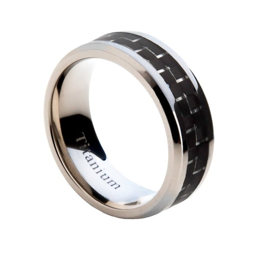 mens titanium wedding band with black and silver carbon fiber