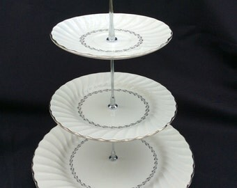 Cake Stand, Wedding Cake Stand, Silver Plate, 3 Tier Cake Stand, Tiered Serving Tray
