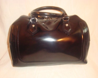 Black Leather Cromia Satchel Bag