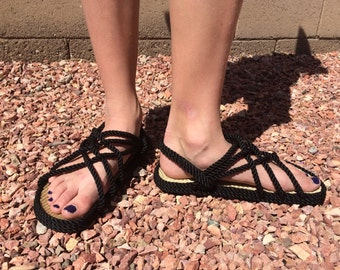 FREE SHIP! Womens Rope Sandal in Black&Beige