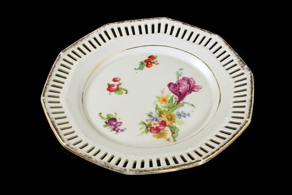 Salad Plate, A C S Bavaria, Reticulated, Decagon, 10 Sided, Floral Pattern