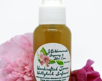 Natural Hollyhock Botanical Remedy Infusion Facial Toner - 2.5 oz - Hollyhock Hydrosol Toner - Flower Water Toner