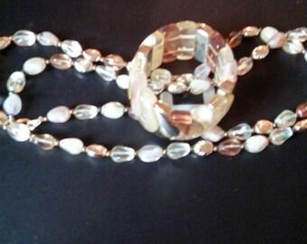 Vintage bead necklace and elastic bracelet set