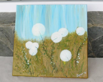 Dance of Dandelions - a  picture painted with mix of oils and acrylic paints