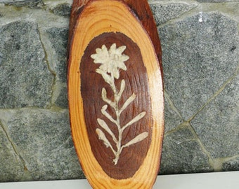 Vintage Handmade wooden wall decoration with rare flower - the edelweiss, Art Decor, Gift