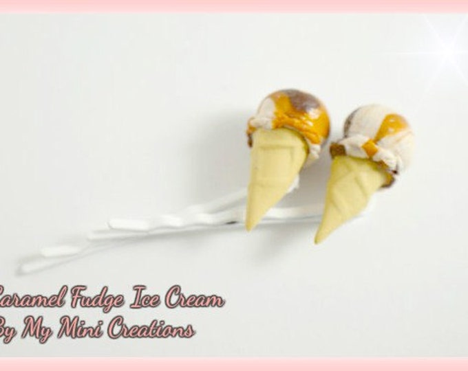 Caramel Fudge Ice Cream, Hair Pins, Polymer Clay, Miniature Food, Miniature Food Jewelry