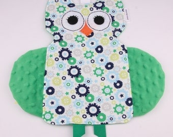 Owl Crinkle Tag Toy, Baby Lovie, Minky Blanket, Baby Shower Gift, Baby Crinkle Toy, Sensory Toy, New Baby Gift, Tag Security Blanket