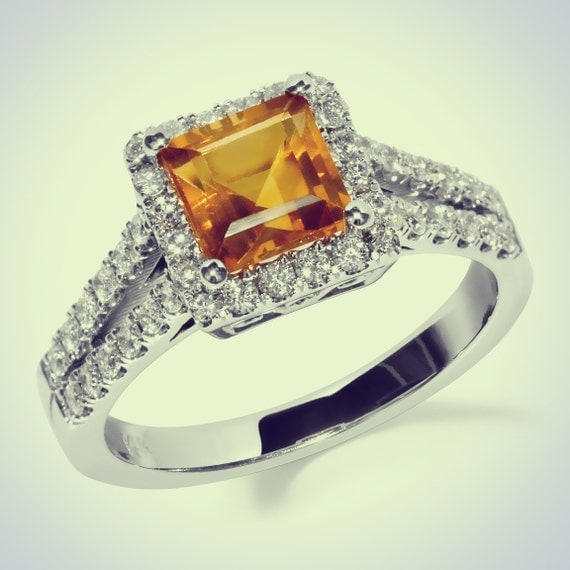14k gold princess cut citrine and by