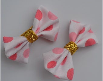 Pink spotted bow hair clip range, girls accessories, hair accessories, hair clips