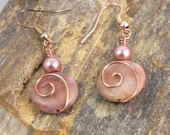 Copper and Red Marble Earrings, Copper Earrings, Marble Earrings, Red Marble Earrings, Copper Dangle Earrings, Marble Dangle Earrings, Pearl