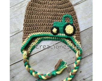 Crochet baby hat tractor, gorro en crochet