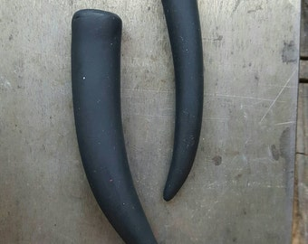 Black Tines, set of 2, black horns, black tines, handmade tines, necklace tines, black antler tines, black pendant tines, polymer clay
