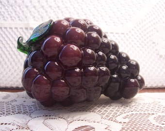 Bunch of Glass Purple Grapes